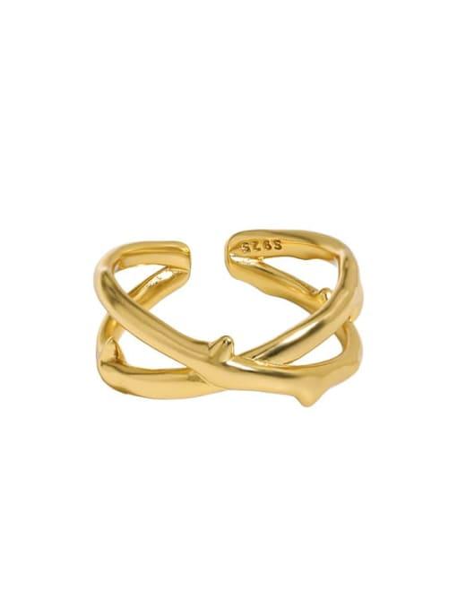 18K gold [15 adjustable] 925 Sterling Silver Cross Vintage Band Ring
